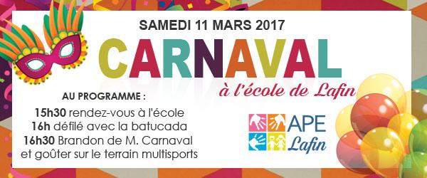 Samedi 11 mars, c'est Carnaval!